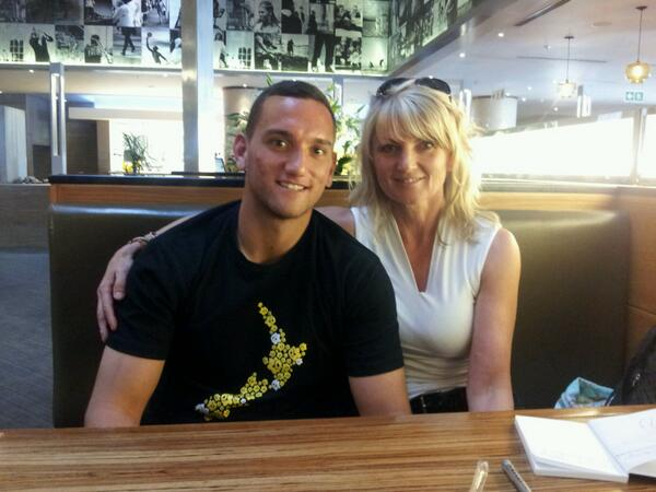2014 All Black rugby star, Aaron Cruden seen here with Infacet Jewellers co-owner, Brigitte Jenkinson
