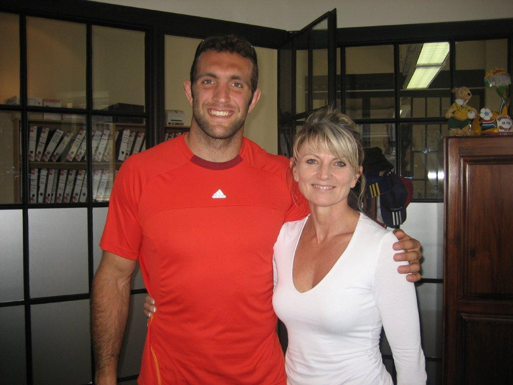 Adam Whitelock from the Crusaders rugby Team 2013 seen here with Brigitte Jenkinson