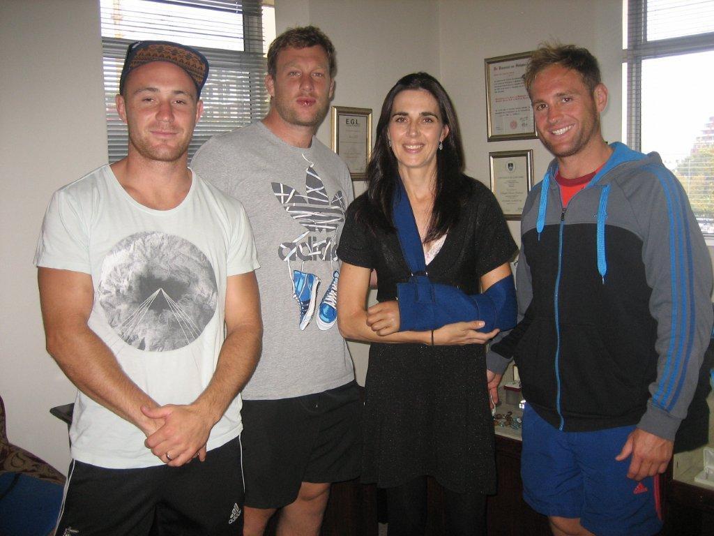 Crusaders 2013 rugby team members, Will Heinz, Wyatt Crockett and Andy Ellis seen here with Janine Moore-1024x768