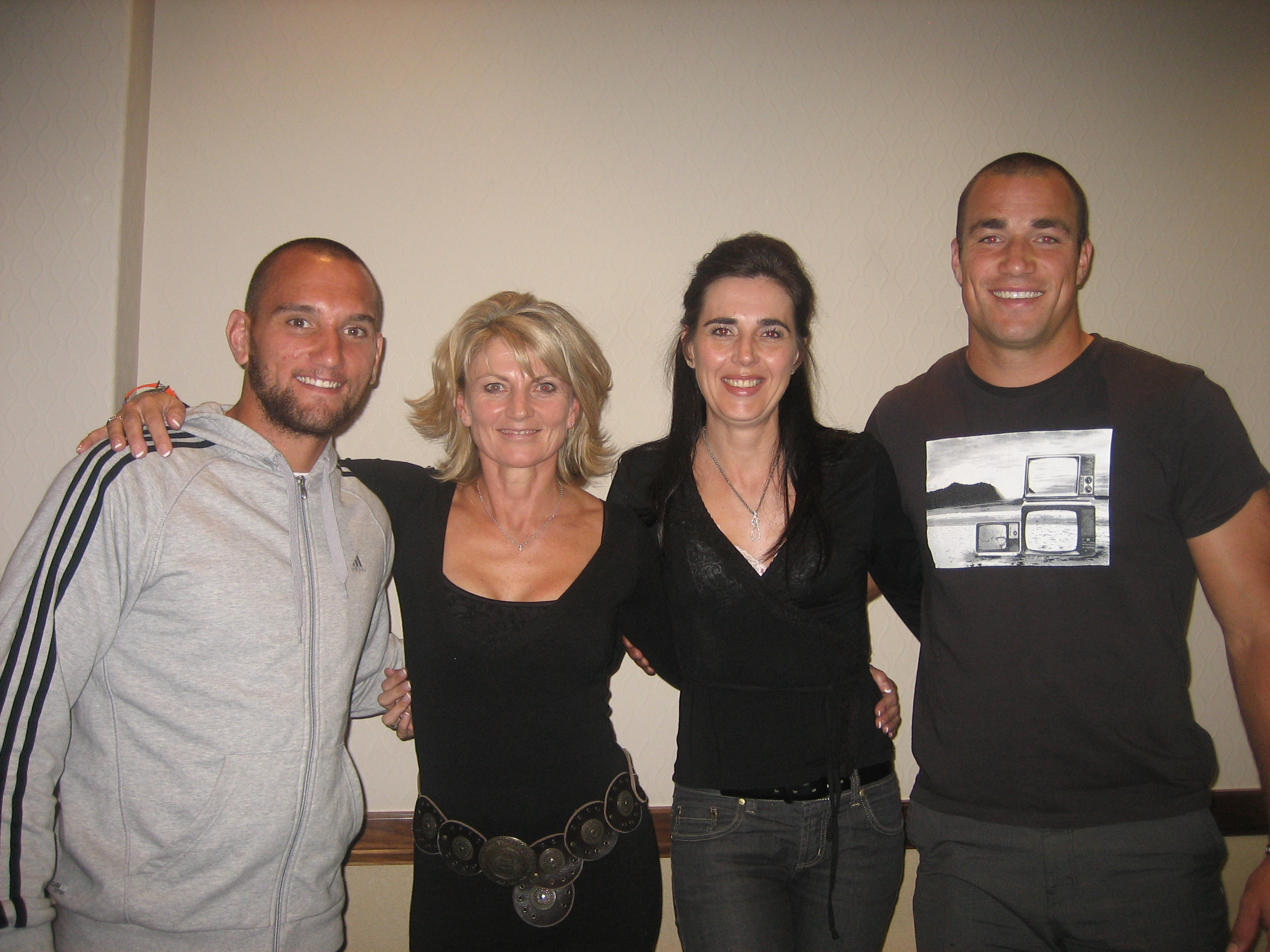 All Black and Chiefs rugby players,Aaron Cruden and Richie Kahui seen here with owners of Infacet Jewellers, Brigitte Jenkinson and Janine Moore,