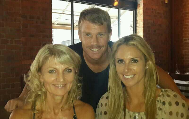 Australian cricketer Davie Warner and his wife Candice Falzon with co owner Infacet Jewellers , Brigitte Jenkinson