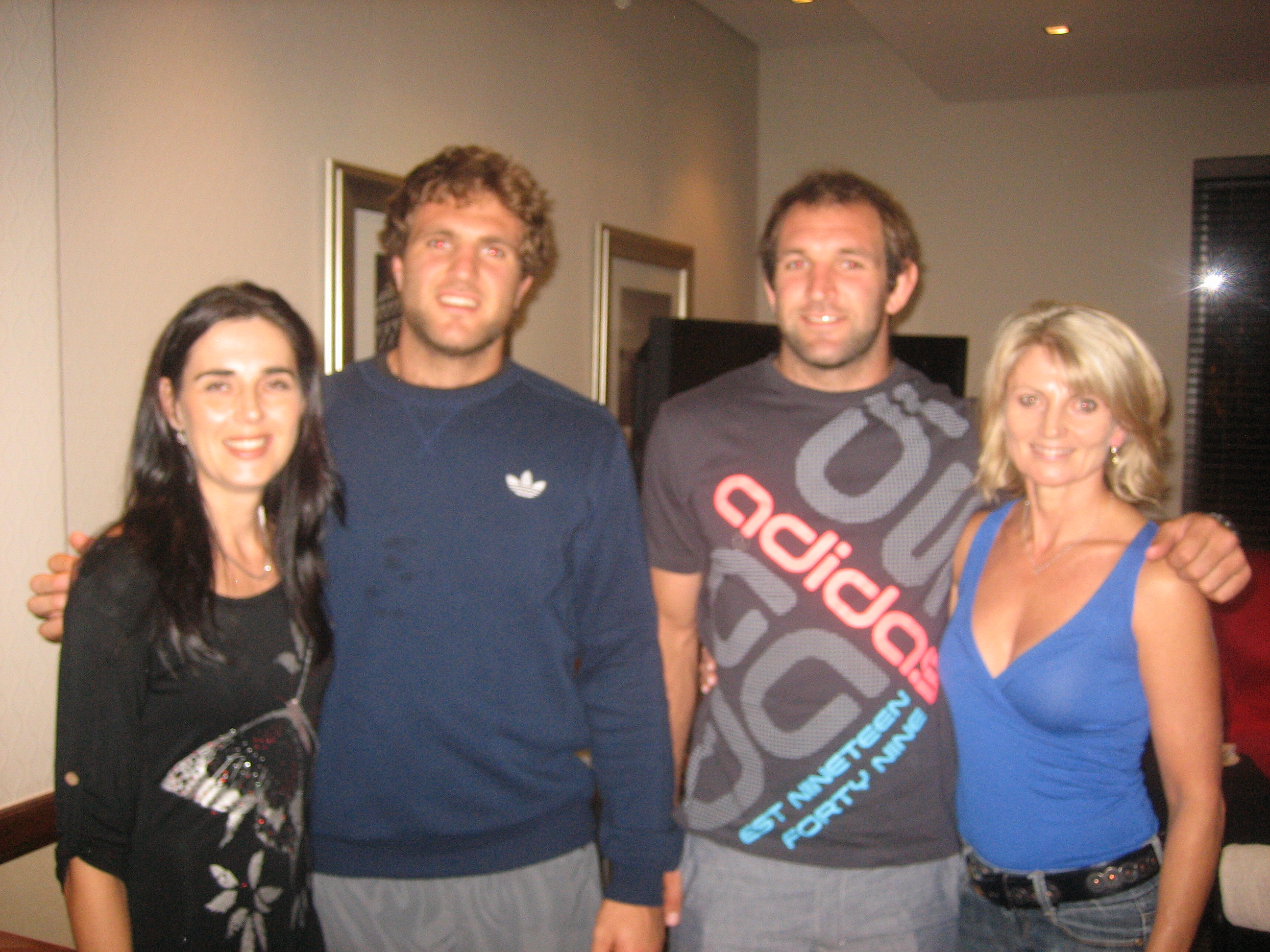 Janine, Luke and George Whitelock and Brigi, Crusaders 2012