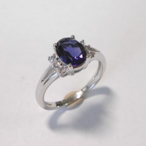 9K white gold split-band iolite and diamond ring